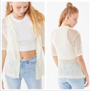 UO Havana Crochet Button-Down Sweater